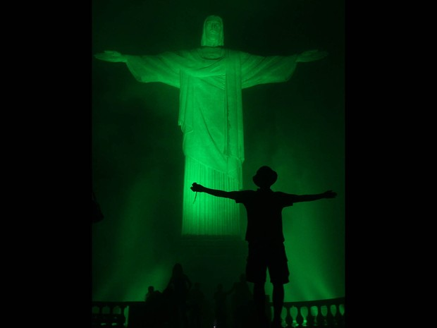 Rio's Christ in green for St Patricks Day